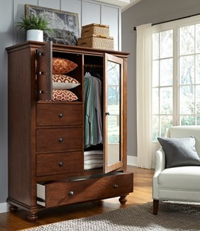 aspen oxford whiskey brown armoire i07 459 wbr armoires i rh ikeatingfurniture com large armoire with shelves and drawers large armoire with shelves and drawers