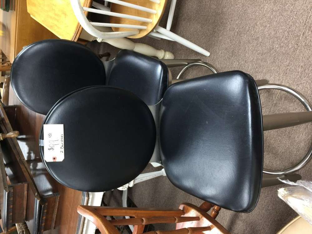 Bonded Leather Swivel Barstools (2)