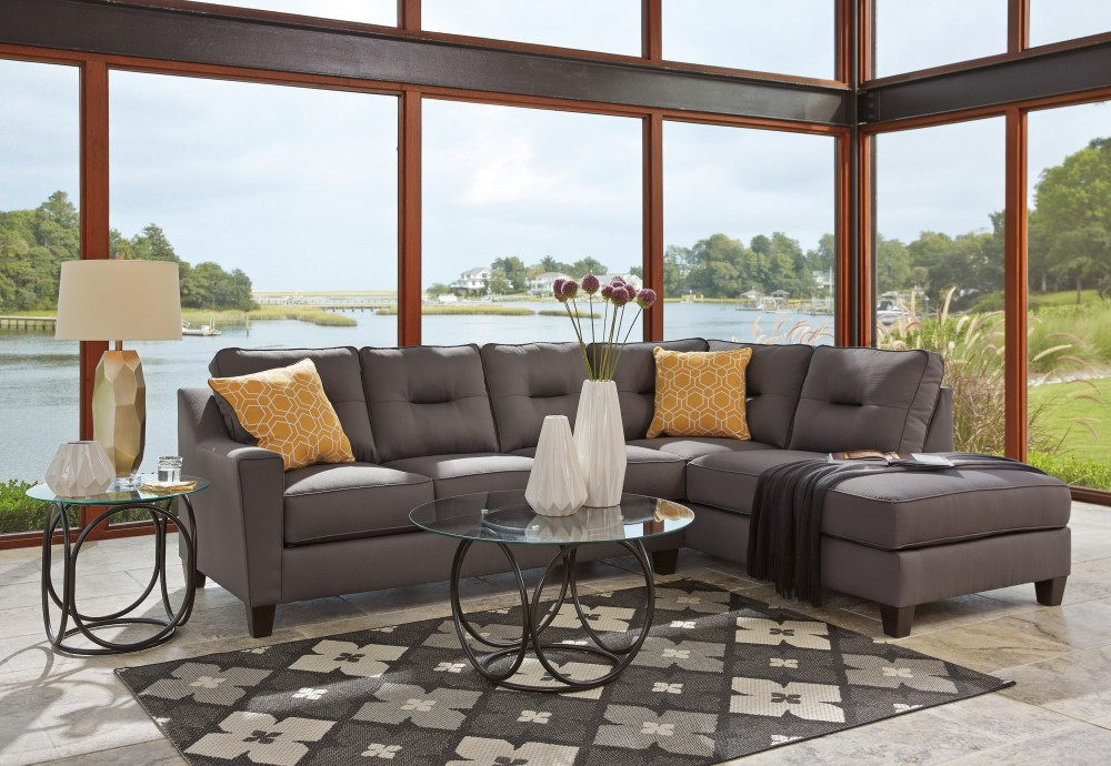 Kirwin Nuvella   Gray 2 Pc LAF Sectional