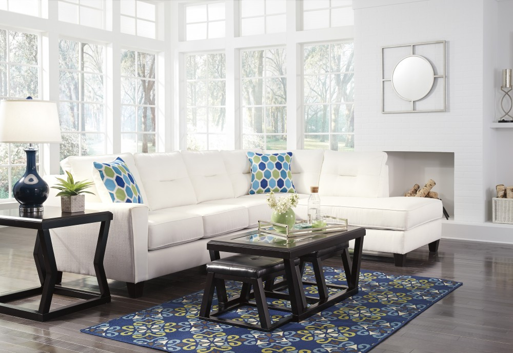 Kirwin Nuvella - White 2 Pc LAF Sectional