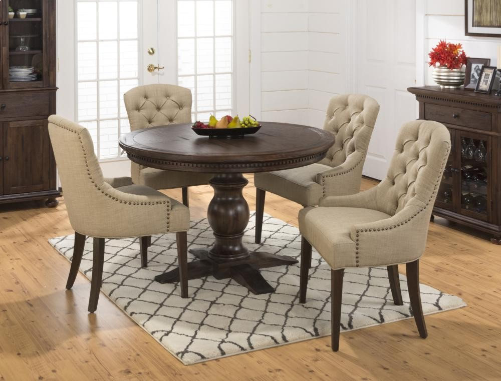 Geneva Hills Round To Oval Dining Table With Four Pierce Side Chairs