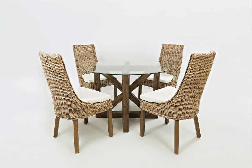 Hampton Road Round Glass Top Dining Table With Four Rattan