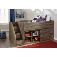 Trinell - Brown - Twin Loft Complete Bed with Bookcase