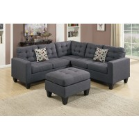 Blue Grey Linen Fiber Sectional