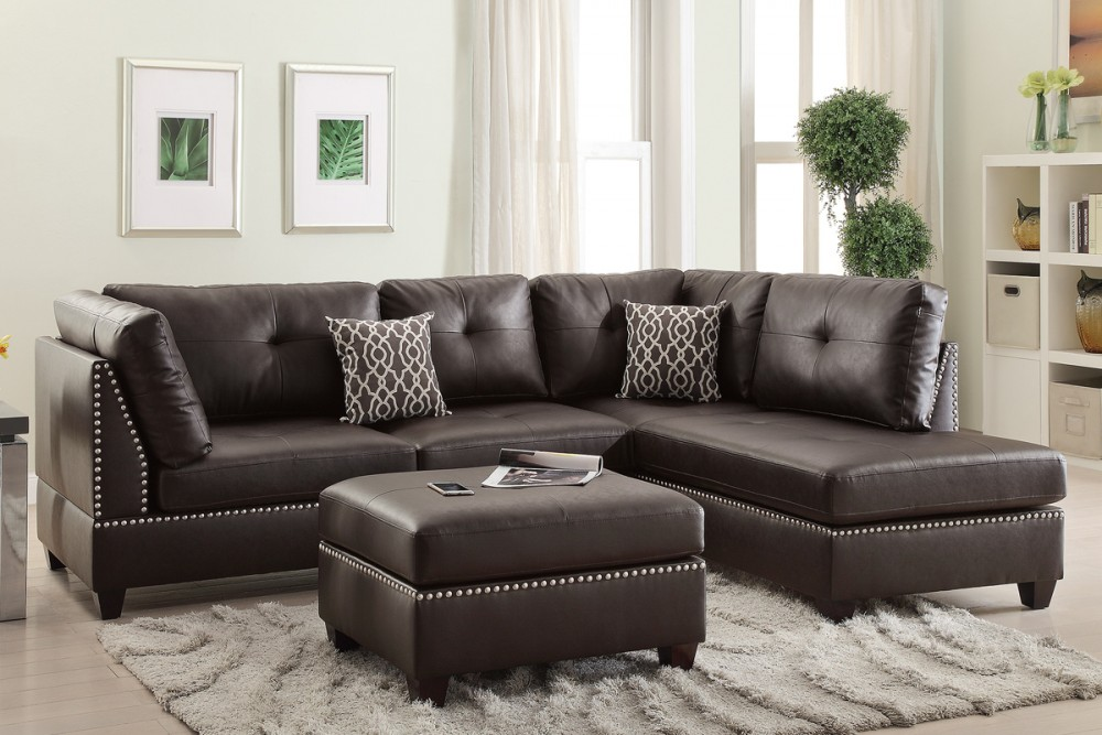 Espresso Bonded Leather Sectional w/ Nailhead Trim