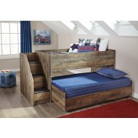 Trinell - Brown - Twin Loft Bed with Caster Bed