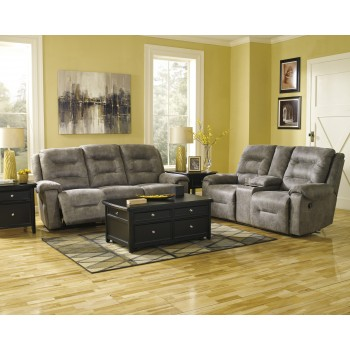 Rotation - Smoke - Reclining Sofa & Double Reclining Loveseat