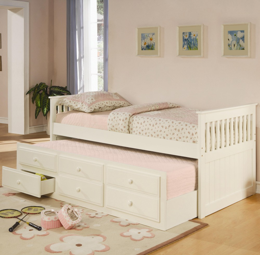 Trundle Bed.White Twin Trundle Bed