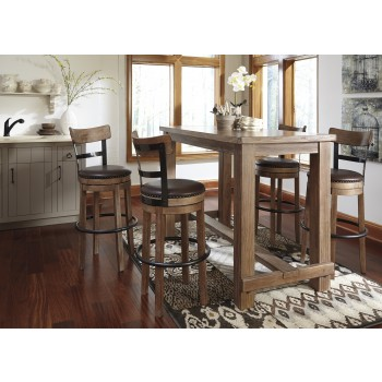 Pinnadel Dining Room Bar Table & 4 Tall UPH Swivel Bar Stools