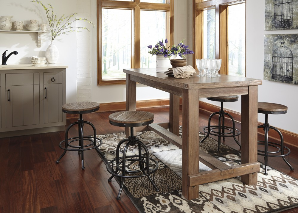Pinnadel RECT Dining Room Counter Table 4 Swivel Stools