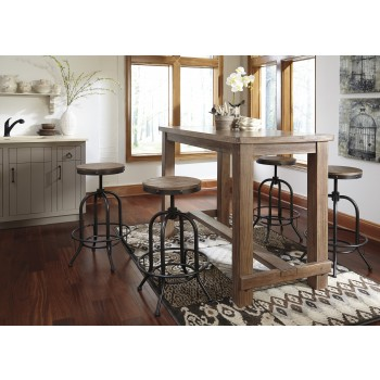 Pinnadel  Dining Room Bar Tabl & 4 Tall Swivel Stools