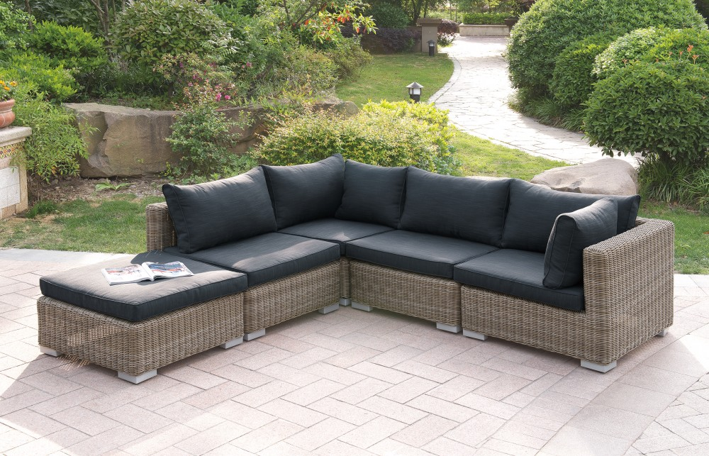 5 Pc Patio Sectional Sofa With Resin Wicker And Padded Black