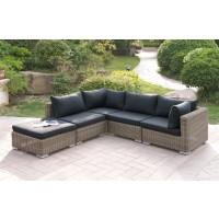 5 PC Patio Sectional Sofa with Resin Wicker and Padded Black Cushions