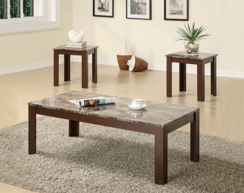 Brown Marble Looking 3pc Occasional Table Set - 700395