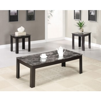 Black Finish Marble Looking 3pc Table Set - 700375