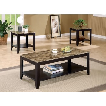 Walnut Marble Like Top Occasional 3pc Table Set - 700155