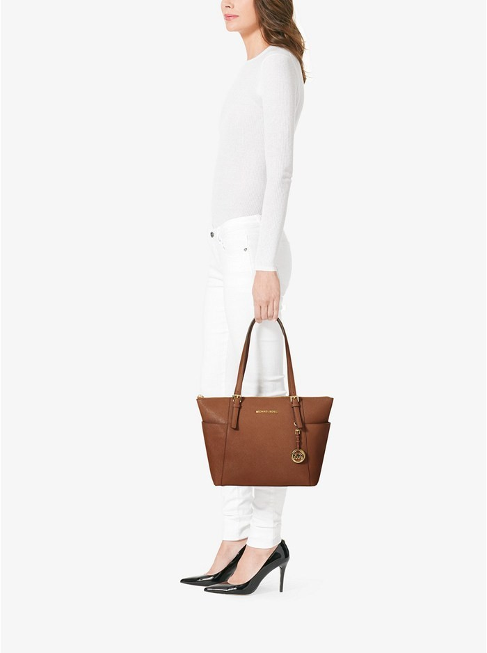 16dc6684b7ddc8 Michael Kors Jet Set Top-Zip Saffiano Leather Tote Bag Luggage. Click to  expand. Michael. Michael