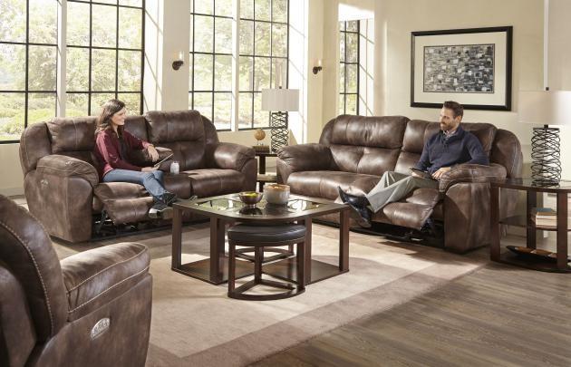 Power Headrest w/ Lumbar Power Lay Flat Reclining Sofa ...
