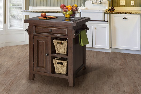 Tuscan Retreat(r) Small Kitchen Island With 2 Baskets   Rustic Mahogany