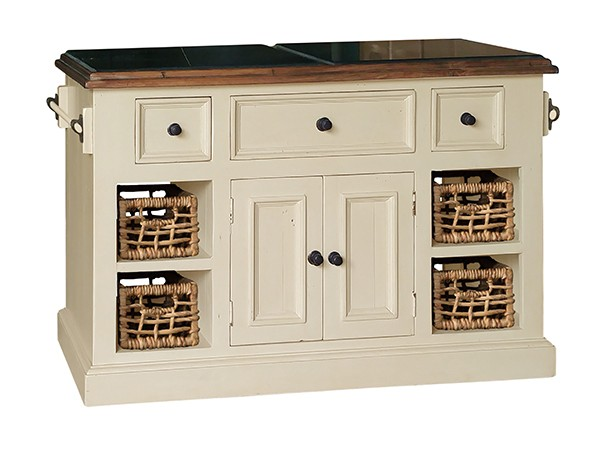 Tuscan Retreat(r) Large Granite Top Kitchen Island With Baskets   Country  White With