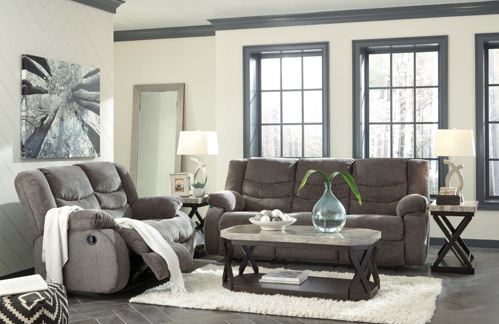Tulen - Grey - Reclining Sofa & Loveseat