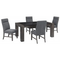 Chansey - Dark Grey - RECT DRM Table w/Glass Top & 4 UPH Side Chairs