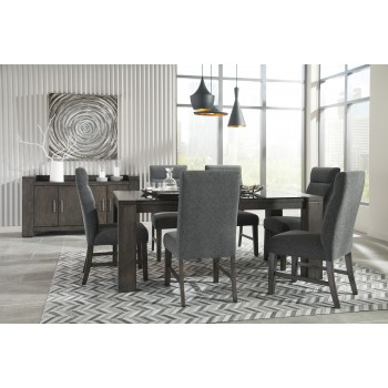 Chansey - Dark Grey - RECT DRM Table w/Glass Top & 6 UPH Side Chairs