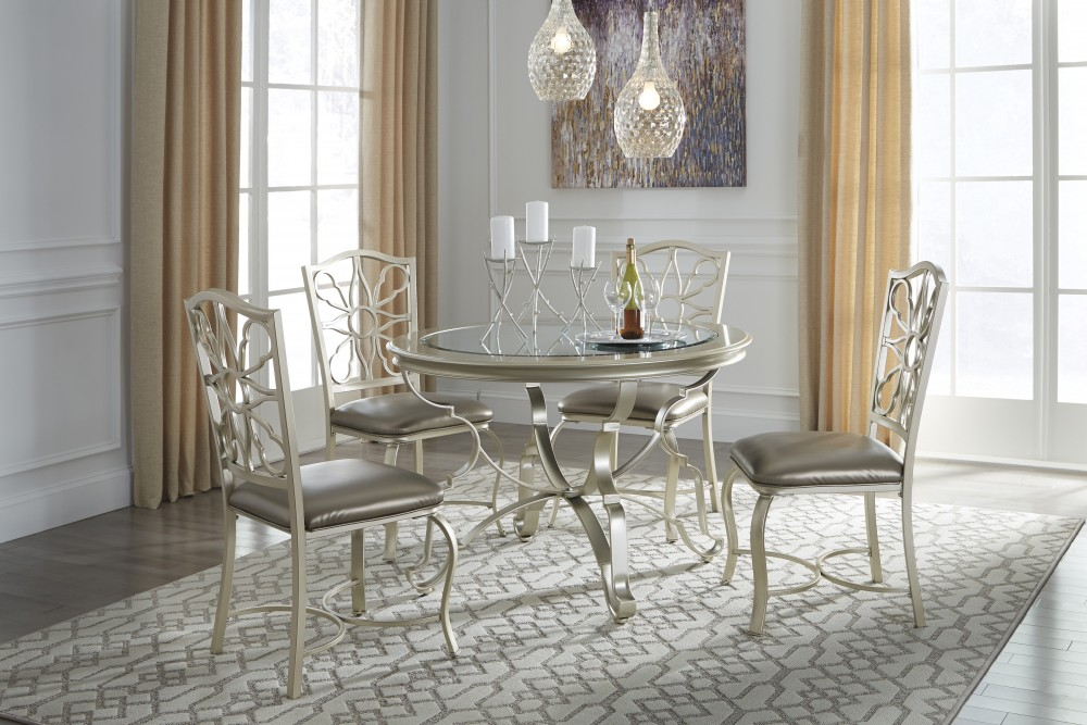 silver dining room set Shollyn   Silver   Round Dining Room Table & 4 UPH Side Chairs  silver dining room set