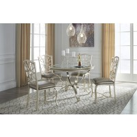 Shollyn - Silver - Round Dining Room Table & 4 UPH Side Chairs