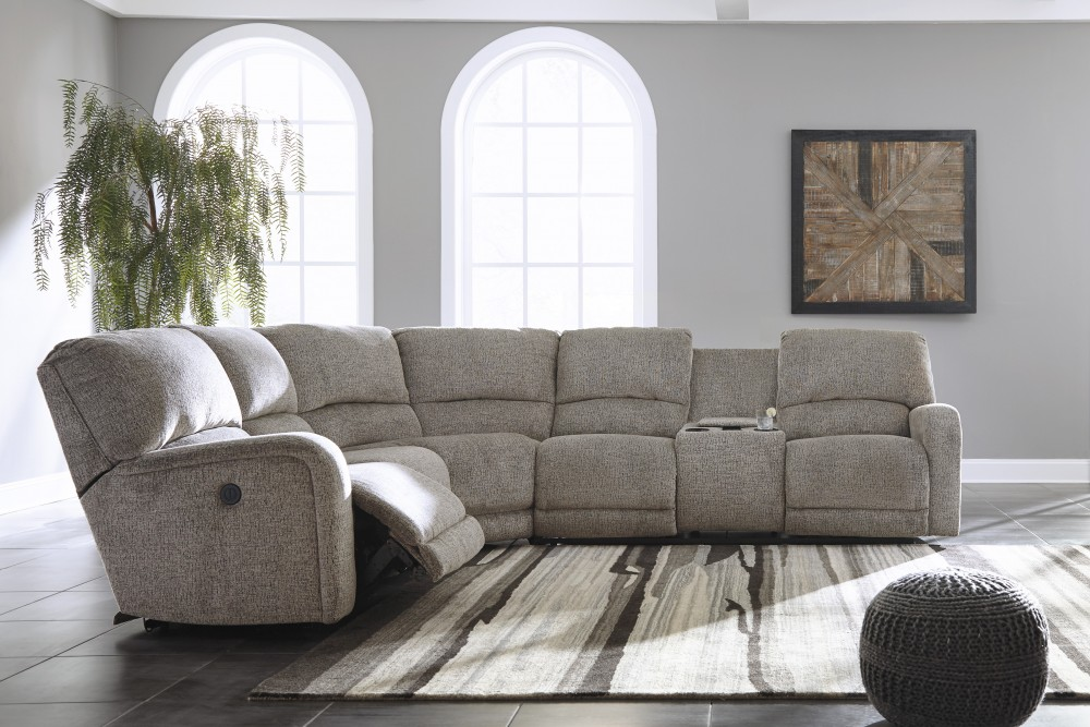 Pittsfield - Fossil 4 Pc. Power RAF Loveseat Reclining Sectional