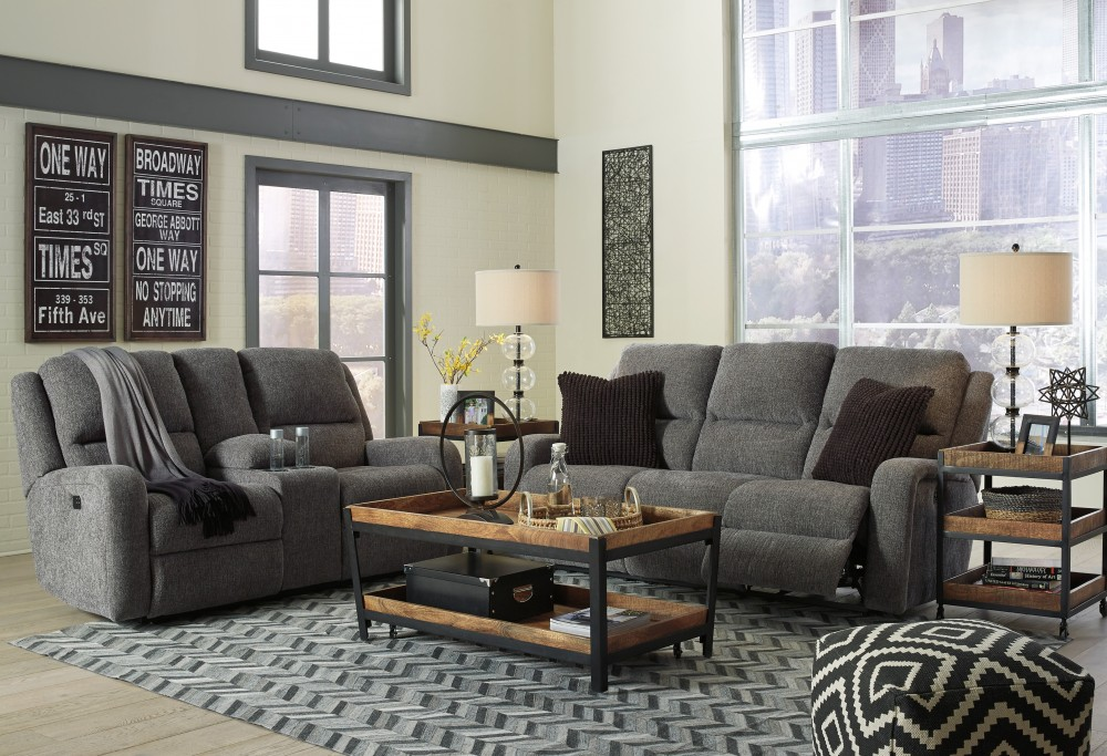 Krismen - Charcoal - Reclining Power Sofa & Loveseat