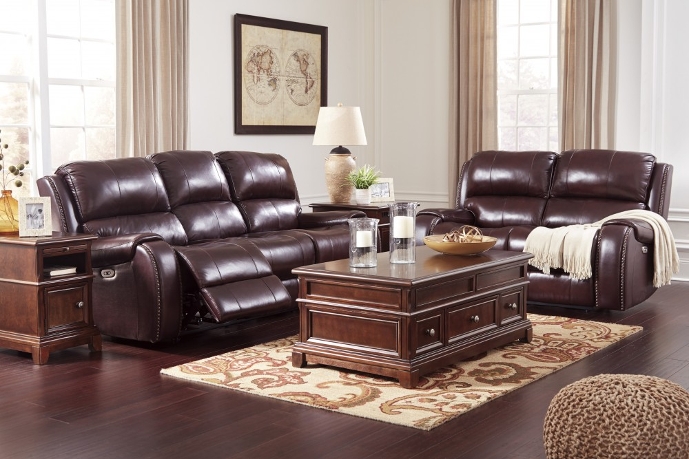 Gilmanton - Burgundy - Reclining Power Sofa & Loveseat ...