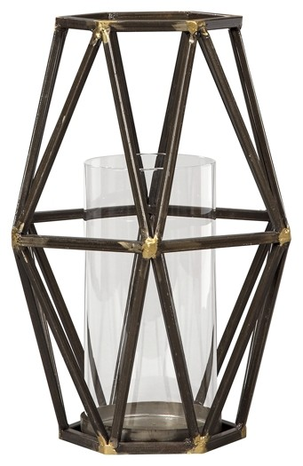 Devo - Black/Gold Finish - Candle Holder