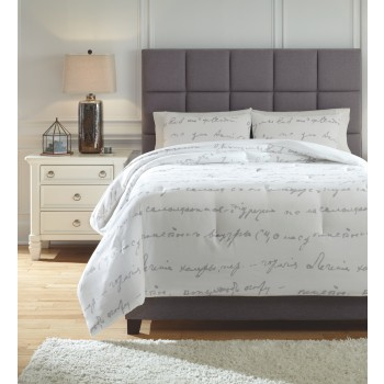 Adrianna - White/Gray - King Comforter Set