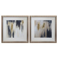 Constanza - Blue/Cream/Gold Finish - Wall Art Set (2/CN)