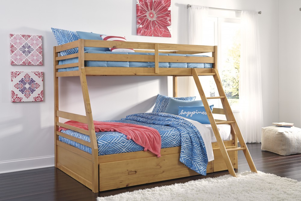 Hallytown Twin Full Bunk Bed With Ladder Storage Bunk Beds