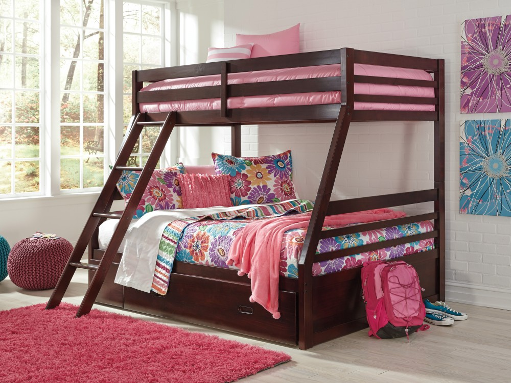 Halanton Twin Full Bunk Bed With Ladder Storage B328 58p 58r 50