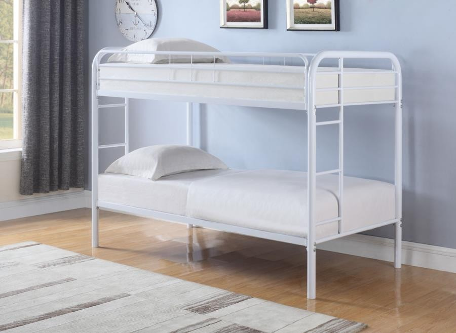 MORGAN BUNK BED - Morgan  White Twin Bunk Bed