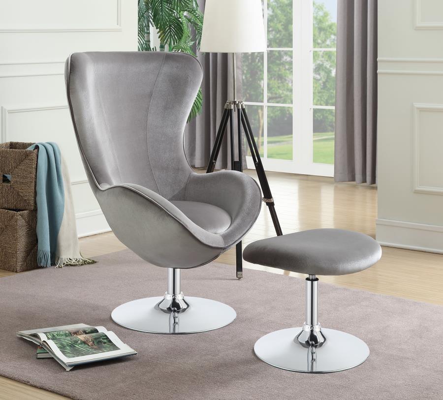 Astonishing Contemporary Grey And Chrome Chair And Ottoman Gmtry Best Dining Table And Chair Ideas Images Gmtryco