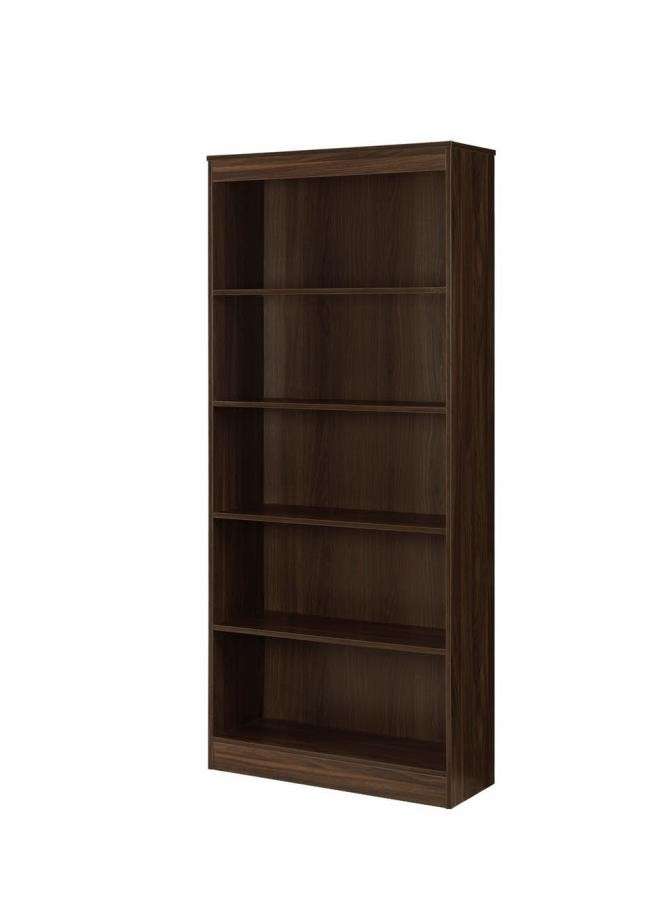 Transitional Dark Walnut Five Shelf Bookcase 801808 Bookcases