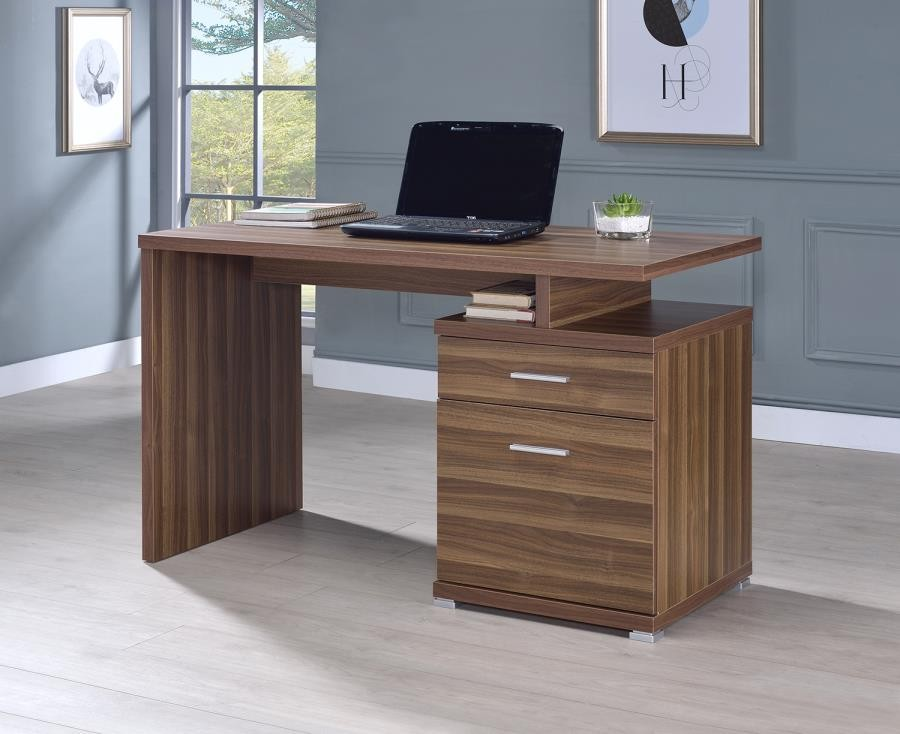 Incroyable HOME OFFICE : DESKS   Contemporary Walnut Office Desk With Cabinet