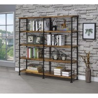 ANALIESE COLLECTION - Barritt Industrial Antique Nutmeg Double-Wide Bookcase