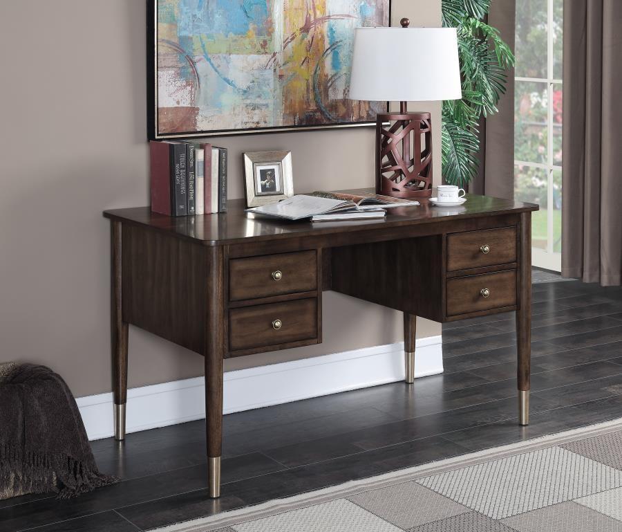 HOME OFFICE : DESKS   Mid Century Modern Burnished Amber Writing Desk