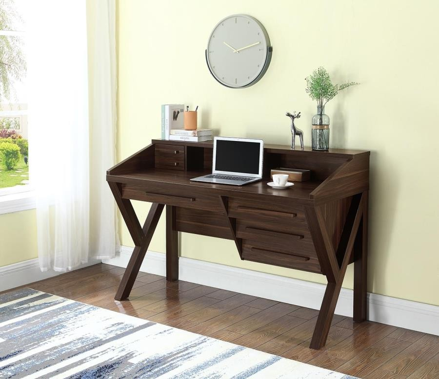 HOME OFFICE : DESKS   Contemporary Dark Walnut Writing Desk With Power  Outlet