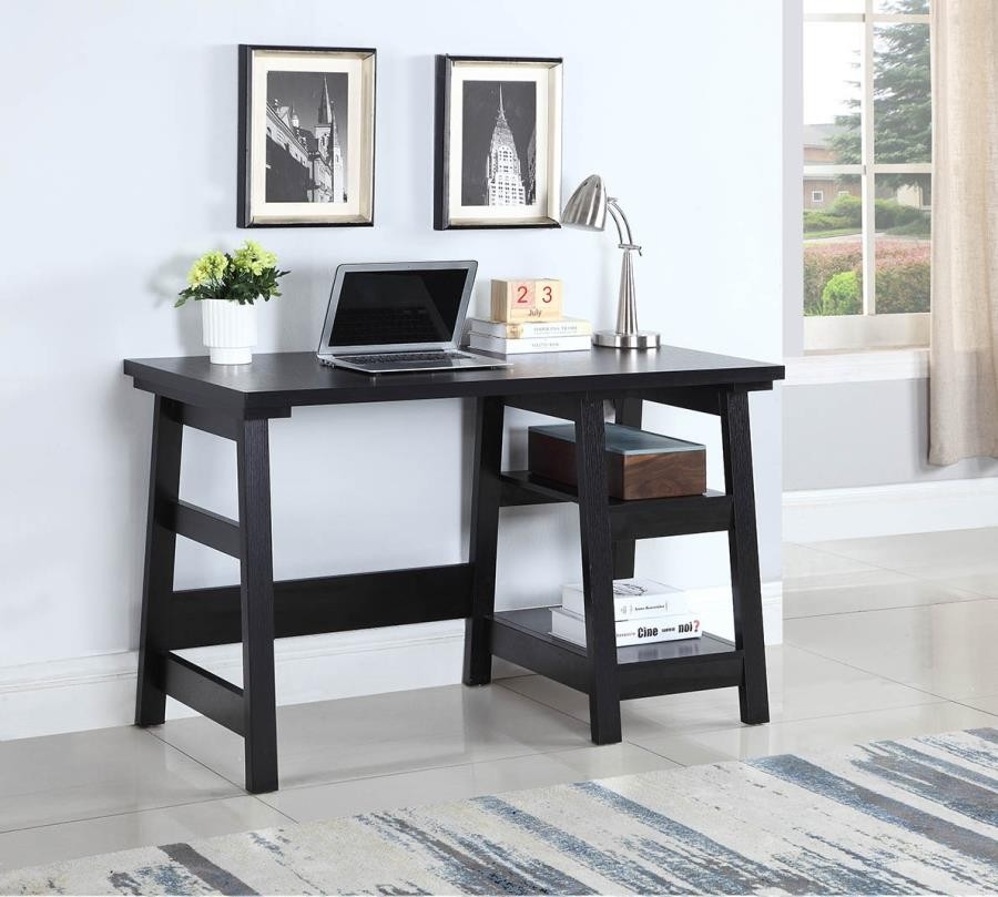 HOME OFFICE : DESKS   Transitional Black Writing Desk