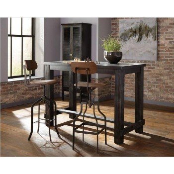Jacinto Rustic Black Bar Table