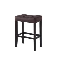 Casual Brown Upholstered Bar Stool (Pack of 2)