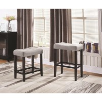 Casual Grey Upholstered Counter-Height Stool (Pack of 2)