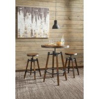 Hornell Rustic Adjustable Bar Stool  (Pack of 2)