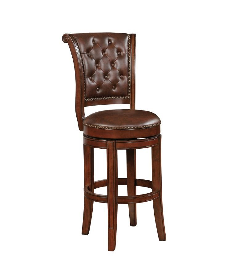 Traditional Warm Brown Swivel Bar Stool Pack Of 2 102936 Bar